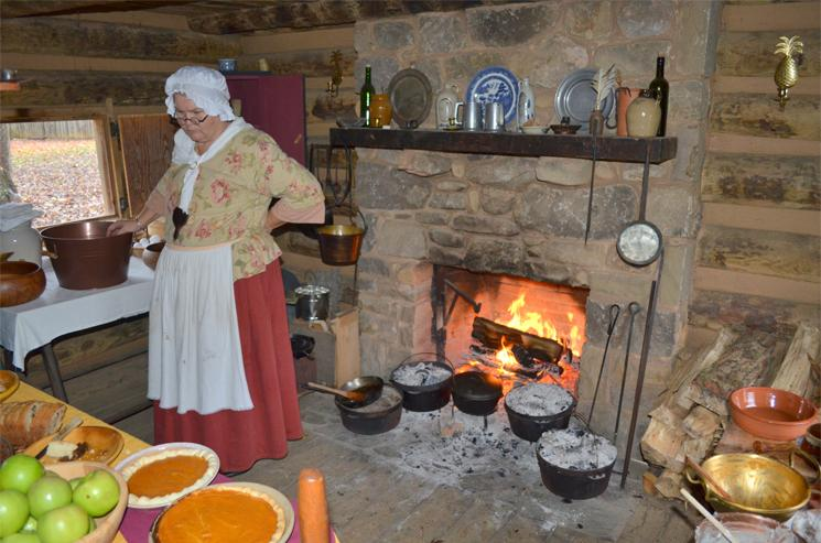 Historical Reenactment, Sycamore Sholes State Park, showing the labor required to cook a meal in Fort Watauga on the American frontier, circa 1776