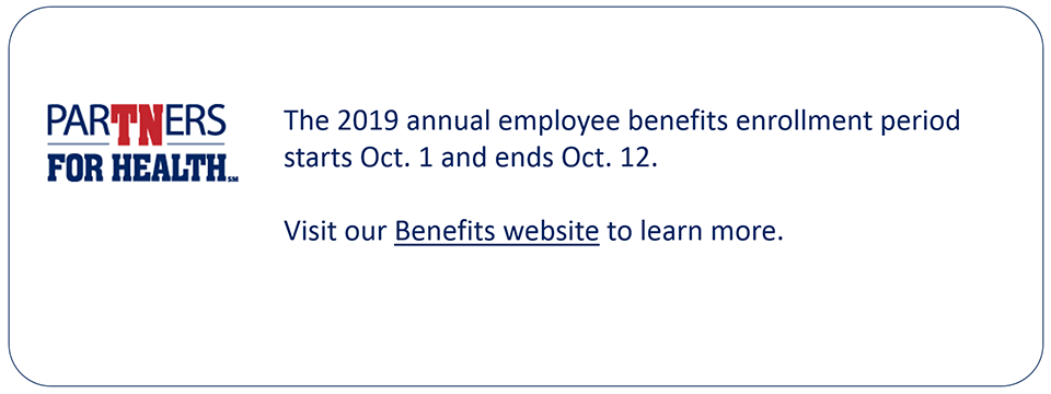 The 2019 annual employee benefits enrollment period starts Oct. 1 and ends Oct. 12. Visit our Benefits website to learn more.