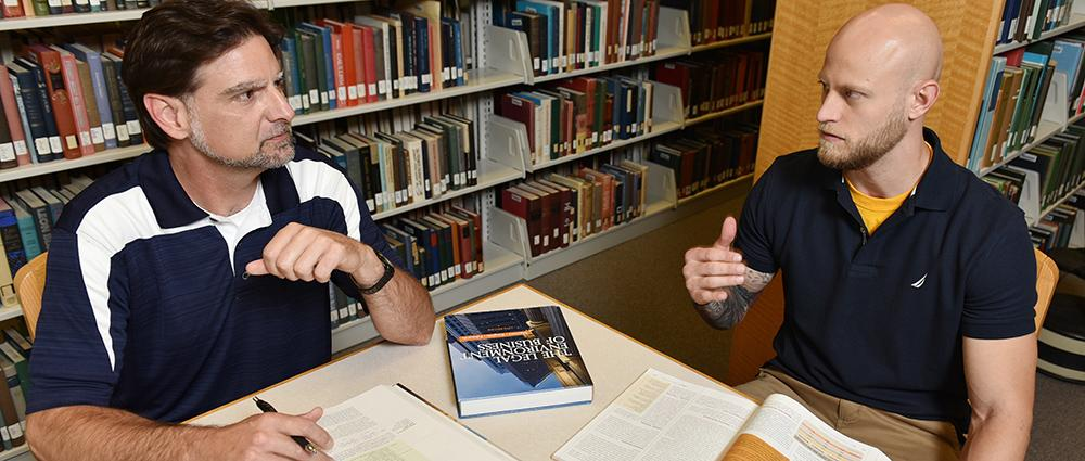 Student veterans studying in the Sherrod Library.