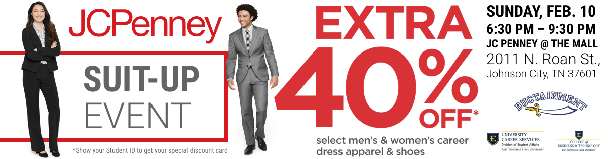 JC Penney Suit-Up Event for ETSU Students 40% Off with Student ID, Feb 10, 2019