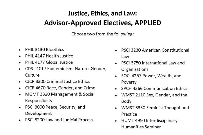 Justice, Ethics, and Law Applied courses