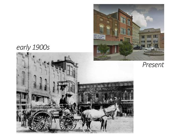 two images of fountain square