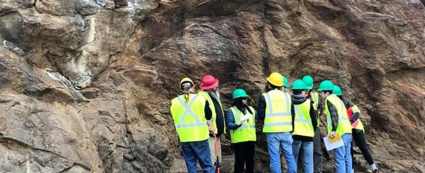Dr. Arpita Nandi conducts work in the field with students from the ETSU Geosciences Department.