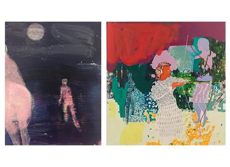"""Left: Katherine Bradford, """"Moon Painting"""" (2016), acrylic on canvas 28 x 22 inches (courtesy of the artist and CANADA, New York) Right: Jackie Gendel, """"Archers"""" (2015), oil on canvas, 70 x 72 inches (courtesy of the artist and Thomas Erben Gallery, New York)"""