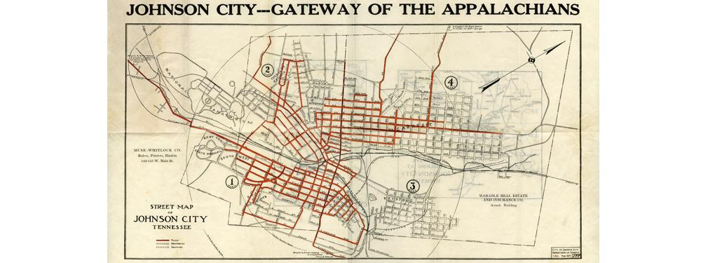 Street Map of Johnson City, Tennessee, circa 1925 from the Fitzgerald Family Papers