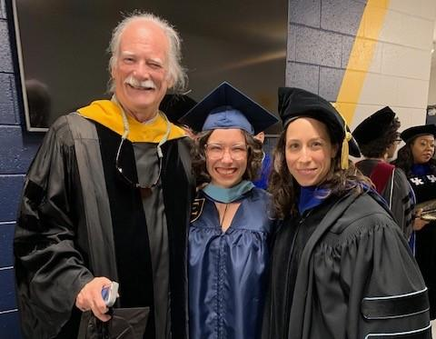 Dr. Fox, Abbey Booher, Dr. Mims, May 2019 Graduation