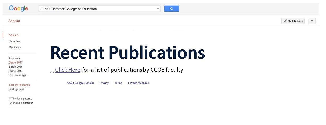 Link to the page of Recent Publications by CCOE faculty