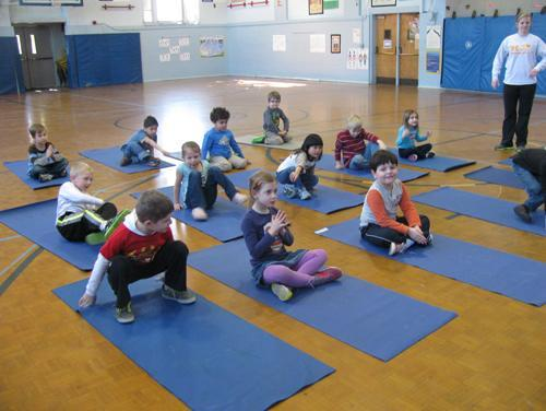 Ms Cradic's Class learning yoga