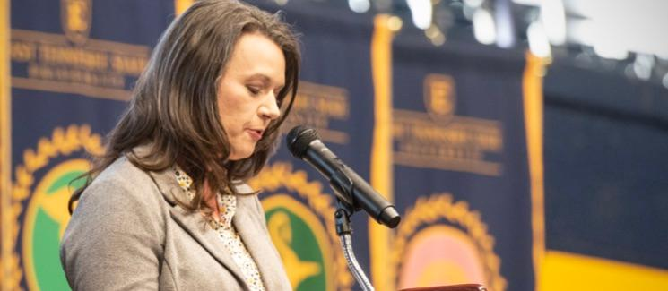 Catherine Pritchard Childress at podium