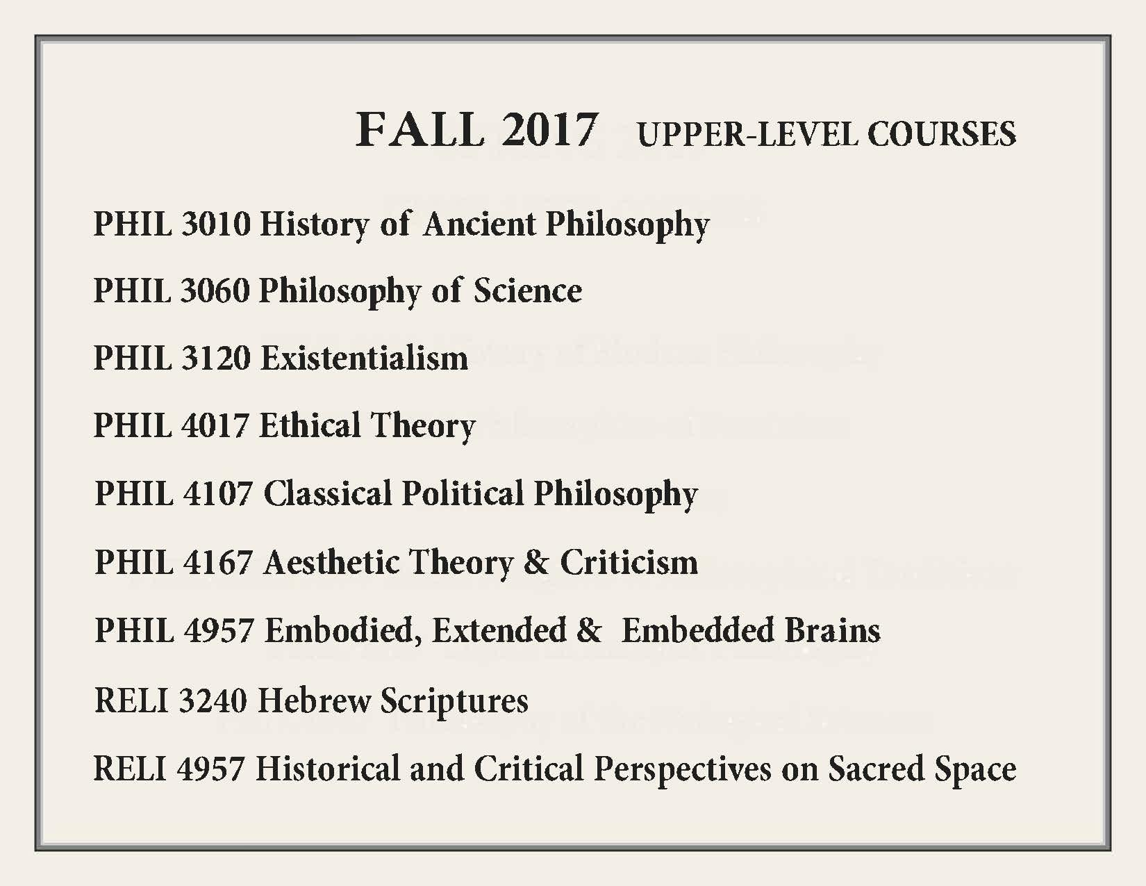 Fall 2017 upper-level courses