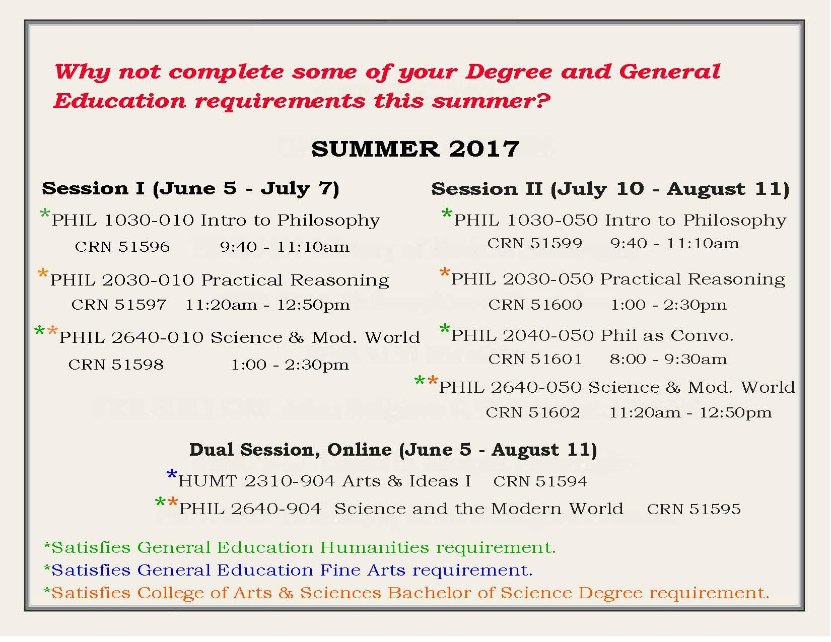 Summer 2017 courses