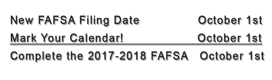 New FAFSA date, Oct 1