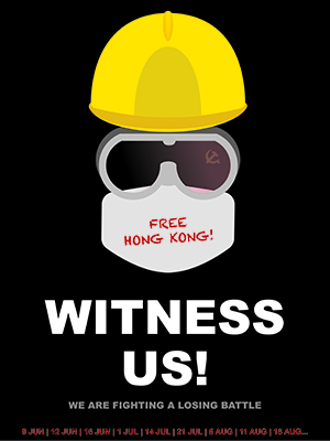 "This 2019 ""FL3TCH3R Exhibit"" entry (an unseen head with hardhat, safety goggles and dust mask that reads ""Free Hong Kong! Witness Us! We are fighting a losing battle"" against a black background)is the exhibit's first entry from Hong Kong and is ""a profound cry for assistance and awareness of their plight in protesting human rights violations and abuses by the Chinese government,"" says exhibit co-director Barbara Dyer."
