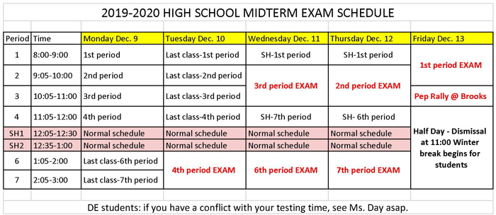 Mid-term Exam Schedule Posted