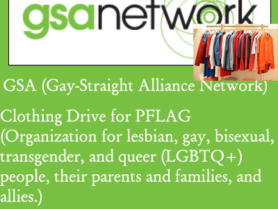 GSA Clothing Drive for PFLAG